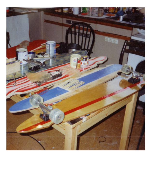 Some of the first decks on the kitchen table - 2001
