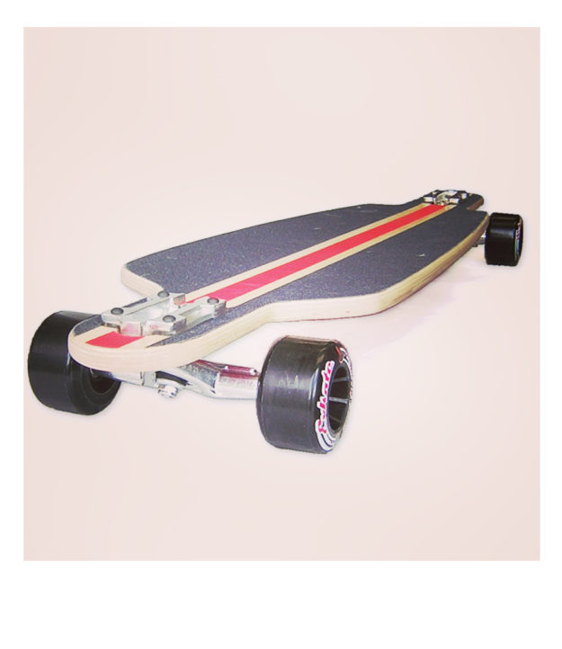 "The Spooky ""Evo"" speedboard was the first ever commercially available drop-through longboard. Randal DH trucks and Exskate Cherry Bombs!"